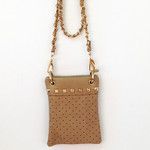 BEIGE GOLD STUDS MINI MESSENGER BAG MB2-1204BEI