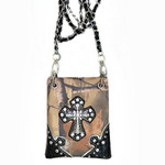 BROWN CAMO STUDDED RHINESTONE CROSS  MINI MESSENGER BAG MB2-0402BRN