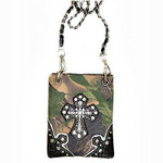 BLACK CAMO STUDDED RHINESTONE CROSS  MINI MESSENGER BAG MB2-0402BLK