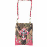 HOT PINK CAMO STUDDED RHINESTONE CROSS MINI MESSENGER BAG MB2-0402HPK