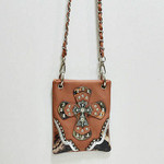 PEACH STUDDED RHINESTONE CAMO CROSS MINI MESSENGER BAG MB2-0410PCH