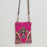 HOT PINK CAMO RHINESTONE STUDDED CROSS MINI MESSENGER BAG MB2-0406HPK