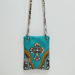 TURQUOISE CAMO RHINESTONE STUDDED CROSS MINI MESSENGER BAG MB2-0406TRQ
