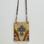 BEIGE CAMO RHINESTONE STUDDED CROSS MINI MESSENGER BAG MB2-0406BEI