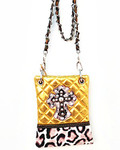 GOLD METALLIC LEOPARD STUDDED RHINESTONE CROSS LOOK MESSENGER BAG MB2-0405GLD