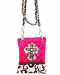 HOT PINK METALLIC LEOPARD STUDDED RHINESTONE CROSS LOOK MESSENGER BAG MB2-0405HPK