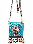 TURQUOISE METALLIC LEOPARD STUDDED RHINESTONE CROSS LOOK MESSENGER BAG MB2-0405TRQ