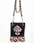 BLACK METALLIC LEOPARD STUDDED RHINESTONE CROSS LOOK MESSENGER BAG MB2-0405BLK