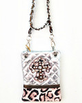 SILVER METALLIC LEOPARD STUDDED RHINESTONE CROSS LOOK MESSENGER BAG MB2-0405SLV