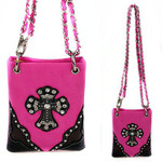 HOT PINK SHINY STUDDED RHINESTONE CROSS MINI MESSENGER BAG MB2-0403HPK