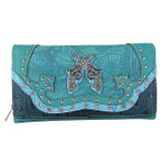 TURQUOISE STUDDED RHINESTONE DISTRESSED PISTOL LOOK CHECKBOOK WALLET CB1-1274TRQ