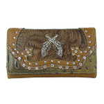BROWN STUDDED RHINESTONE DISTRESSED PISTOL LOOK CHECKBOOK WALLET CB1-1274BRN