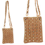BEIGE FULL GOLD STUDS MINI MESSENGER BAG MB2-1209BEI