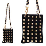 BLACK FULL GOLD STUDS MINI MESSENGER BAG MB2-1209BLK