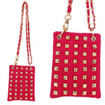 HOT PINK FULL GOLD STUDS MINI MESSENGER BAG MB2-1209HPK