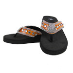 ORANGE CROC RHINESTONE FLOWER FASHION FLIP FLOP FF1-S002ORG