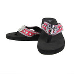 HOT PINK CROC RHINESTONE CROSS FASHION FLIP FLOP FF1-S044HPK