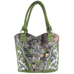 GREEN WESTERN STUDDED RHINESTONE MOSSY CAMO METALLIC CROSS LOOK SHOULDER HANDBAG HB1-HC402-30GRN
