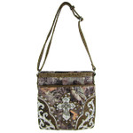 BROWN WESTERN STUDDED RHINESTONE MOSSY CAMO METALLIC CROSS LOOK MESSENGER BAG MB1-HC402-50BRN