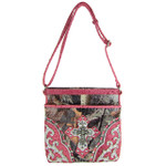 HOT PINK WESTERN STUDDED RHINESTONE MOSSY CAMO METALLIC CROSS LOOK MESSENGER BAG MB1-HC402-50HPK