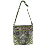 GREEN WESTERN STUDDED RHINESTONE MOSSY CAMO METALLIC CROSS LOOK MESSENGER BAG MB1-HC402-50GRN