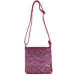 HOT PINK STUDDED RHINESTONE CHEVRON LOOK MESSENGER BAG MB1-8877-1HPK