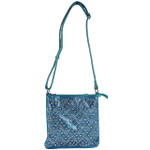 TURQUOISE STUDDED RHINESTONE CHEVRON LOOK MESSENGER BAG MB1-8877-1TRQ