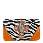 ORANGE ZEBRA PRINT CROSS FLAT THICK WALLET FW2-0431ORG