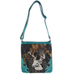 TURQUOISE CAMO STUDDED RHINESTONE STITCHED DEER LOOK MESSENGER BAG MB1-AB8532TRQ