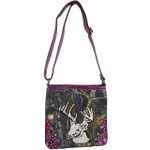 PURPLE CAMO STUDDED RHINESTONE STITCHED DEER LOOK MESSENGER BAG MB1-AB8532PPL