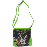 GREEN CAMO STUDDED RHINESTONE STITCHED DEER LOOK MESSENGER BAG MB1-AB8532GRN