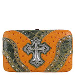 ORANGE STUDDED WESTERN RHINESTONE OSTRICH CROC CROSS FLAT THICK WALLET FW2-04110ORG