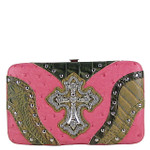 HOT PINK STUDDED WESTERN RHINESTONE OSTRICH CROC CROSS FLAT THICK WALLET FW2-04110HPK