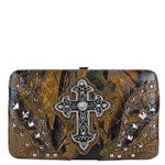 BROWN STUDDED CAMO CROSS FLAT THICK WALLET FW2-04108BLK