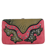 HOT PINK WESTERN RHINESTONE STUDDED CROC LOOK  FLAT THICK WALLET FW2-12112HPK