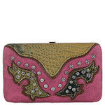PURPLE WESTERN RHINESTONE STUDDED CROC LOOK  FLAT THICK WALLET FW2-12112PPL
