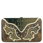 BROWN WESTERN RHINESTONE STUDDED CROC LOOK  FLAT THICK WALLET FW2-12112BRN