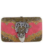 HOT PINK TOOLED RHINESTONE BUCKLE LOOK FLAT THICK WALLET FW2-1222HPK