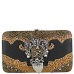 BLACK TOOLED RHINESTONE BUCKLE LOOK FLAT THICK WALLET FW2-1222BLK