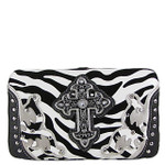BLACK ZEBRA WESTERN CROSS FLAT THICK WALLET FW2-0479BLK