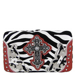 RED ZEBRA WESTERN CROSS FLAT THICK WALLET FW2-0479RED