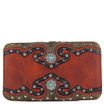 RED WESTERN STUDDED EMERALD STONE LOOK FLAT THICK WALLET FW2-12111RED