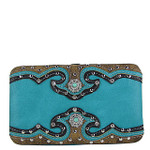 TURQUOISE WESTERN STUDDED EMERALD STONE LOOK FLAT THICK WALLET FW2-12111TRQ