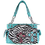 TURQUOISE ZEBRA STUDDED RHINESTONE CROSS LOOK SHOULDER HANDBAG HB1-FZTCRTRQ