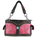 HOT PINK WESTERN BLUE STONE TOOLED LOOK SHOULDER HANDBAG HB1-39W53HPK