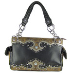 BLACK WESTERN STUDDED RHINESTONE BLUE STONE LOOK SHOULDER HANDBAG HB1-39W54BLK