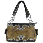 BROWN WESTERN STUDDED RHINESTONE BLUE STONE LOOK SHOULDER HANDBAG HB1-39W54BRN