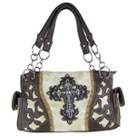 BEIGE WESTERN RHINESTONE CROSS LOOK SHOULDER HANDBAG HB1-43LCRBEI