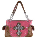 HOT PINK STUDDED RHINESTONE CROSS TOOLING LOOK SHOULDER HANDBAG HB1-35LCR-1HPK