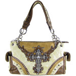 BEIGE WESTERN STUDDED RHINESTONE CROSS LOOK SHOULDER HANDBAG HB1-48LCRBEI